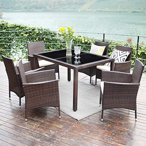 Wisteria Lane Outdoor Wicker Dining Set, 7 Piece Patio Dinning Table Brown Wicker Furniture Seating (Beige Cushions)