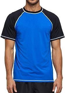 Arcweg Rashguard Men Short Sleeves Diving UV Protection UPF 50+ Elastic Rash Vest Loose Fit Top Swimming Quick Drying Surf...