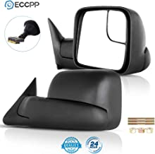 ECCPP Tow Mirrors Towing Mirrors fit for 2009-2010 Dodge Ram 1500 2011-2015 Ram 1500 2500 3500 with Left Right Side Power Adjusted Heated Turn Signal Puddle Light with Black Housing