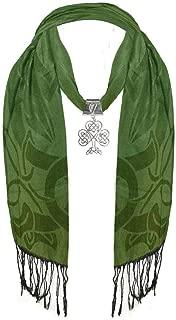 Ladies Green & Black Scarf With Large Metal Celtic Shamrock Pendant
