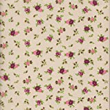 100% Baumwolle Stoff | Elfenbein (Elfenbein, rot, rosa und