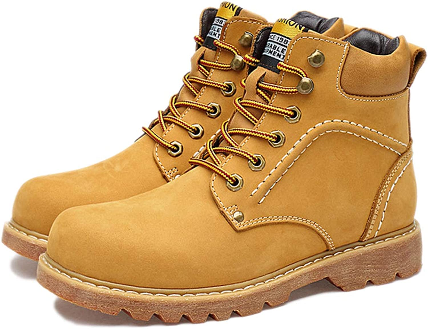 Snfgoij Safety shoes Men Trainers Waterproof Anti-Slip Outdoor Leather High-top Plus Velvet Martin Boots Desert Boots Snow Boots,Yellow-37