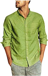 ♛Linen Cotton Clothing From Chamery♛ - Mens Linen Shirts /2019 Prime Deals/Casual Wild Tops Blouse Tees