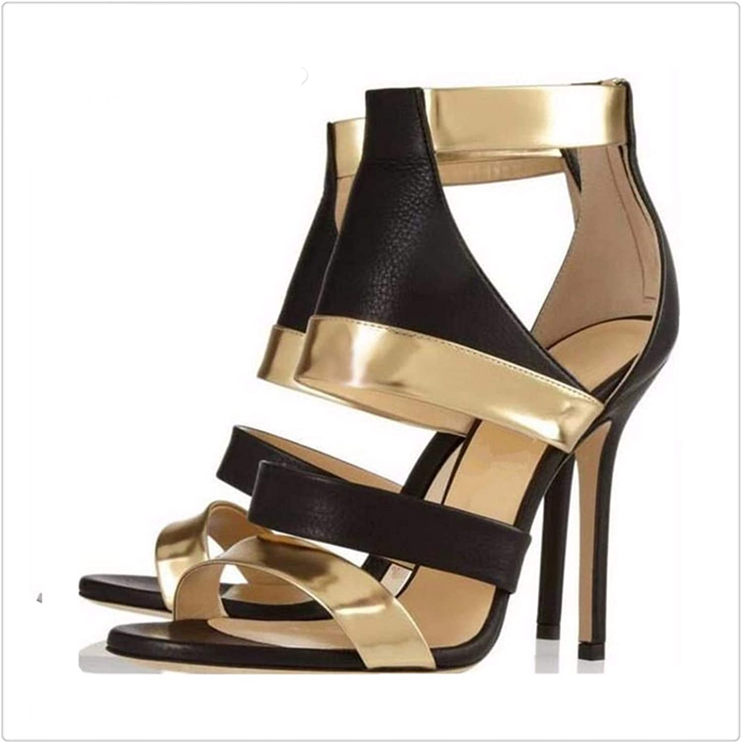 ANGERT& Ankle Boots Back Zipper Gladiator Sandals Women gold Party shoes Woman Stiletto