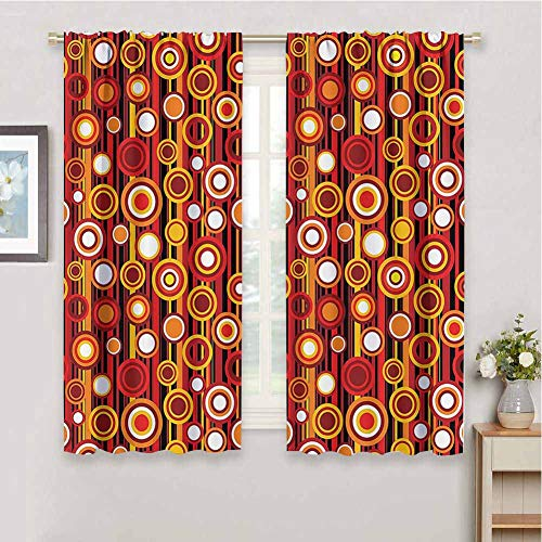 House Decor Collection Insulating Room Darkening Blackout Vertical Lines and Circle Pattern Stripes Nostalgia Contrasting Warm Colors Print Protective Furniture, W63 x L72 Inch, Red Orange Yellow