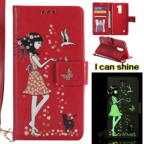 MAOOY LG K10 Wallet Caja, LG K420N Luminoso Cubrir de Cuero de Flor Caso Interna de Suave, Estilo Case con Titular de la Tarjeta y Magnetic Closure para LG K10, Rojo