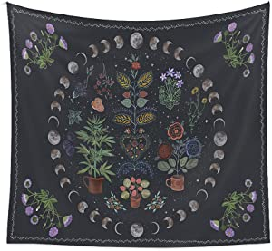 Mandala Tapestry For Home Decor, Boho Moon Wall Hanging Tapestries For Room Decor, Nature Flower And Plant Tapestry For Bedroom Aesthetic----50