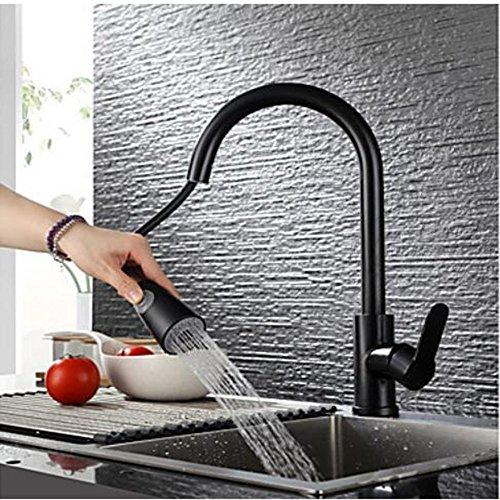 SISHUINIANHUA 360GRAD Drehen Sie Einhandgriff Schwarze Beschichtung Küchenhahn mit Spray Headblei-Freie Edelstahl Gebürstete Nickel-Mixer-Hahn