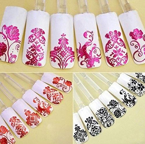Gespout Nail Art Autocollant Deco Nail Art Lot Stickers Pour Ongles Nail Outils Artistiques Différentes Fleurs Colorées