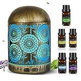 300ml Aroma Diffuser mit 5×10ml Ätherische Öle Set,Luftbefeuchter Metall Duftlampe, Vintage Raumbefeuchter mit 7 Farbe Licht für Zuhause Büro Yoga
