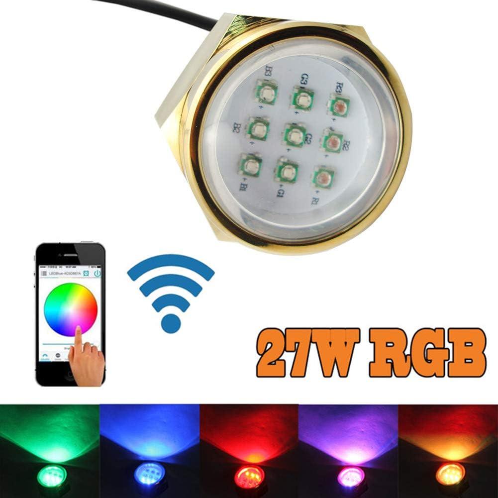 NJSBYL RGB LED Boat Max 42% OFF Drain Plug Now on sale 27W Lights IP68 WiFi Contro -