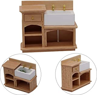 Shisay Dollhouse Furniture and Accessories Mini Wooden Tea Table and Sink Cabinet for 1:12 Miniature Dollhouse Living Room Scene Crafts Model Mini Pretend Play Toy (Sink Cabinet)