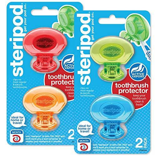 Steripod Zahnbürstenschutz zum Aufstecken, Blau, Grün, Rot, Orange, 4 Stück