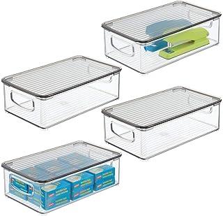mDesign bac de rangement pour bureau – panier de rangement empilable pour placard – bac plastique avec couvercle à charniè...