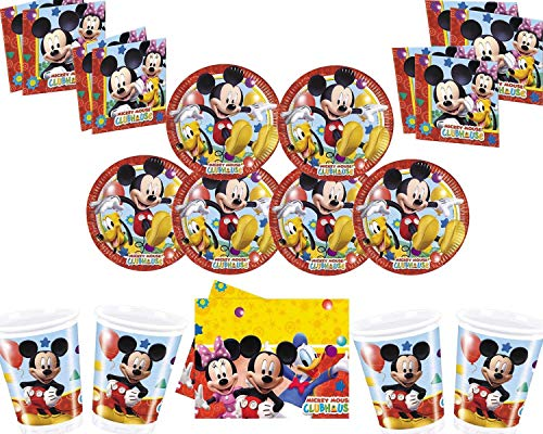 Disney Mickey Mouse Party Decoration Set-Platos Tazas Servilletas Mantel con Globos Gratis Velas Bombas de Globos-Sirve para 16 Invitados