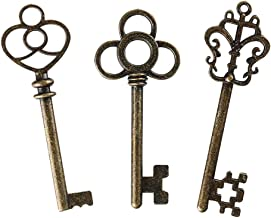 Mixed Set of 30 Skeleton Keys with Antique Style Bronze Brass Skeleton Castle Dungeon Pirate Keys for Birthday Party Favors, Mini Treasure Toy Gifts, Medieval Middle Ages Theme