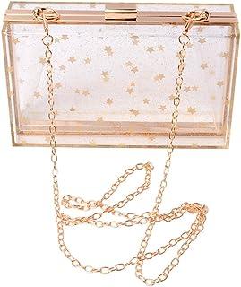 Damen-Handtasche, Acryl, transparent, goldfarbene Sterne, Abendtasche, Clutch, Vintage, Bankett, Handtasche