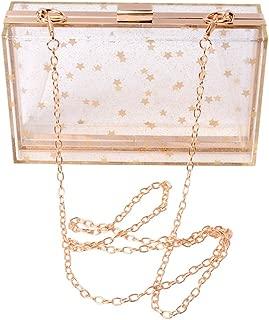 Women Acrylic Transparent Gold star Evening Bags Purses Clutch Vintage Banquet Handbag (Transparent))