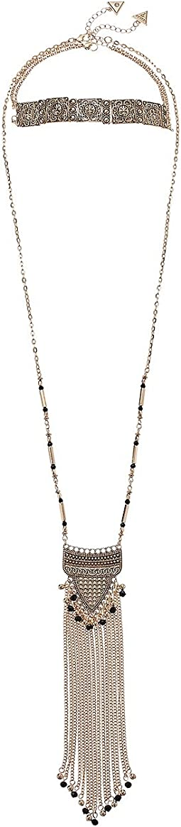 Choker and Long Fringe Pendant Duo Necklace