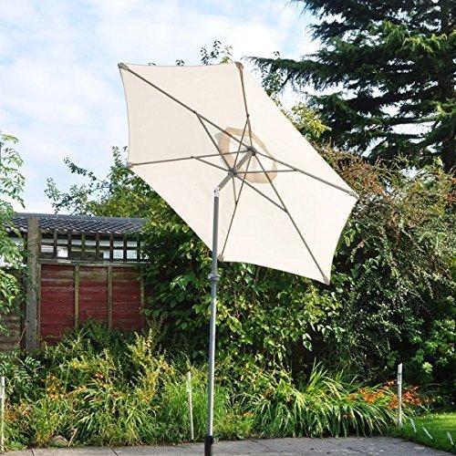 garden mile Grand BASCULANT Jardin Parasol Parapluie Soleil Shade.Available en Noir, crème ou Vert Bois ou Aluminium Cadre Manivelle poignée Lumières LED
