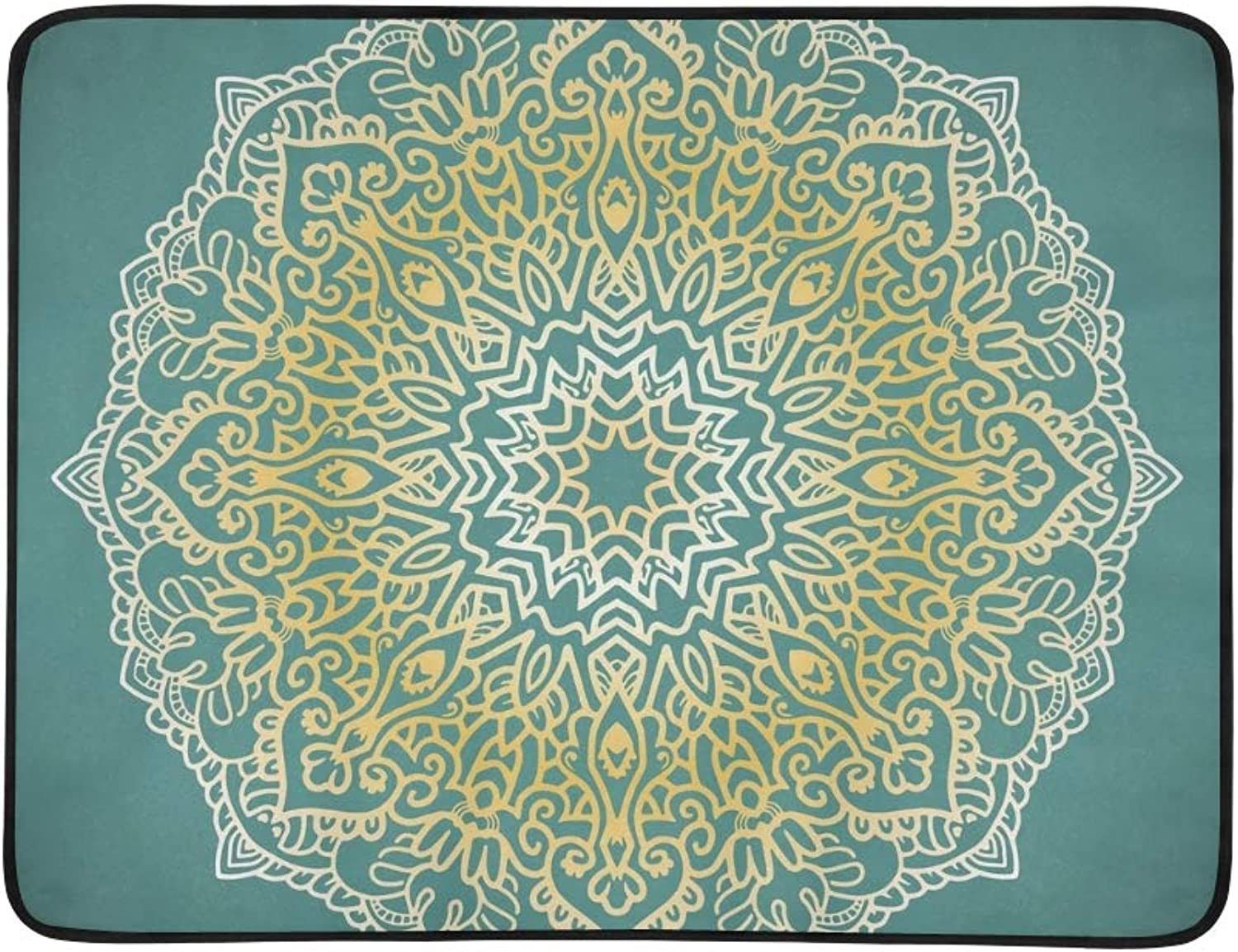 colorful Mandala Isolated On Green Portable and Foldable Blanket Mat 60x78 Inch Handy Mat for Camping Picnic Beach Indoor Outdoor Travel