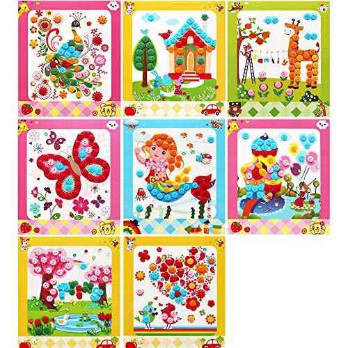 Lovyan Colorful Sticky Buttons and Diamonds Paintings Mosaic Sticker Art Sticky DIY Handmade Art Kits, Set of 8 (A)