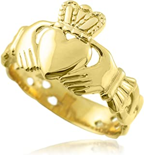 Bold 14k Yellow Gold Men's Trinity Knot Band Irish Claddagh Ring