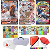 Totem World Pokemon V & VMAX Card Guaranteed with Booster Pack, 5 Rare Cards, 5 Holo/Reverse Holo Cards, 20 Regular Pokemon Cards, Totem Collectors Storage Case, Deck Box and 100 Sleeves
