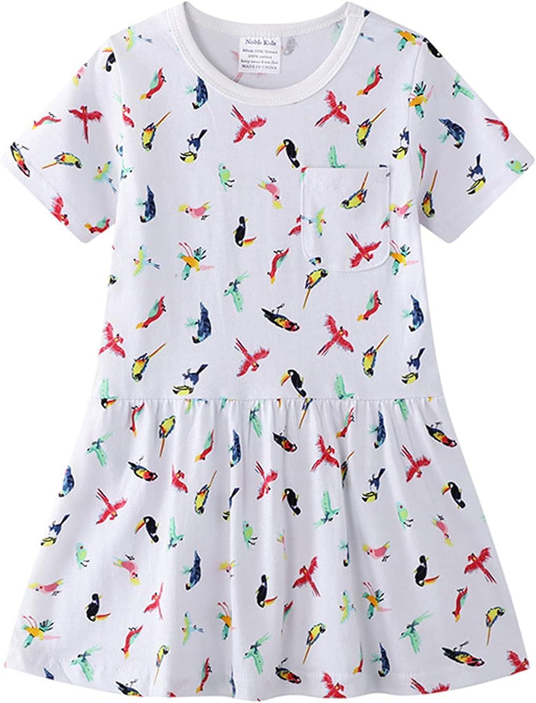JKJM Girls Short-Sleeve Dress Casual Little Sundress 2-7 Years