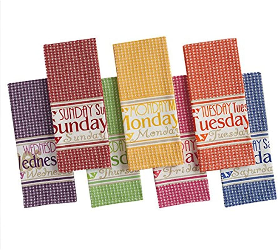 DII Bright Days Of The Week Kitchen Dish Towel Multi Set Of 7