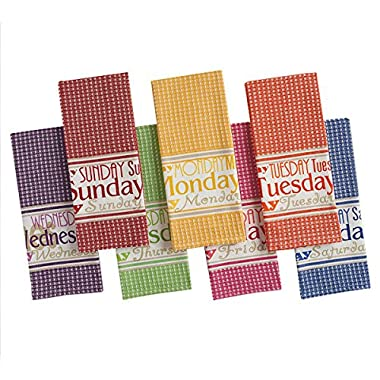 Bright Days of the Week Kitchen Dish Towel - Set of 7