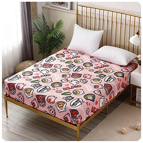 CYYyang Protector de colchón de Rizo algodón y Transpirable Sábana de Dibujos Animados de una Pieza Todo Incluido-4_120 * 200 + 15