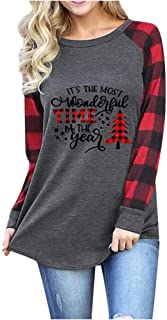 Best Women Christmas Shirts Tree Car Plaid Blouse Tee Raglan Top Valentines Day Long Sleeve T-Shirt Review
