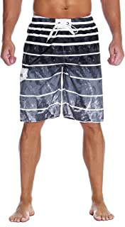 unitop Men's Swim Shorts Relaxed Fit Quick Dry Contrast Side Stripe Bathing Suits