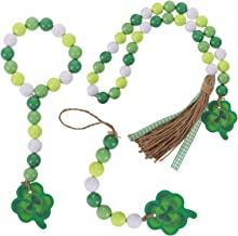 KESYOO 3Pcs St Patricks Day Bead Garland Tassel with Clover Farmhouse Wood Bead Garland for St Patricks Day Party Home Han...