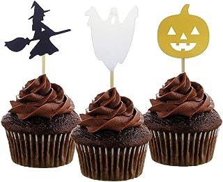 Kulannder Halloween Cupcake Topper 96 Pcs Halloween Kuchen Deko,Maffin Deko Halloween Ghost Spinne Fledermaus K/ürbis Deko f/ür Halloween Decorations Themed Party Kinder Birthday Party