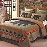 Quilt Bedding Set in King by Virah Bella - Bear and Paw Printed Lightweight Reversible Quilt with 2 Matching Pillow Shams - Cozy & Beautiful Lodge-Themed Bedding