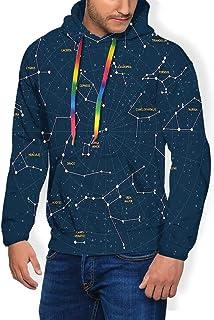 GULTMEE Men's Hoodies Sweatershirt, Sky Map Andromeda Lacerta Cygnus Lyra Hercules Draco Bootes Lynx,5 Size