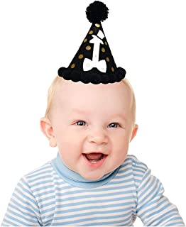 Little Gentleman 1st Happy Birthday Hat-Mustache Baby Shower Decorations for Kids-Boy Girl Cake Smash Outfit- Little Man First Birthday Party Supplies Black- Gentleman Themed Baby Shower decorations