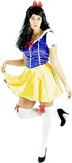 Foxxeo Blanca Nieves Disfraz para Damas con Vestido y Cinta de Pelo para la Fiesta de Cuento de Hadas del Carnaval, Talla: S
