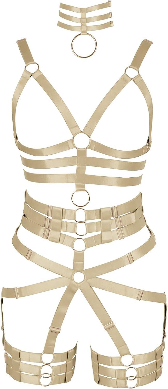 Garter belt set Full body harness for women Punk Plus size Bra Festival Rave Lingerie cage Chest strap Halloween Gothic