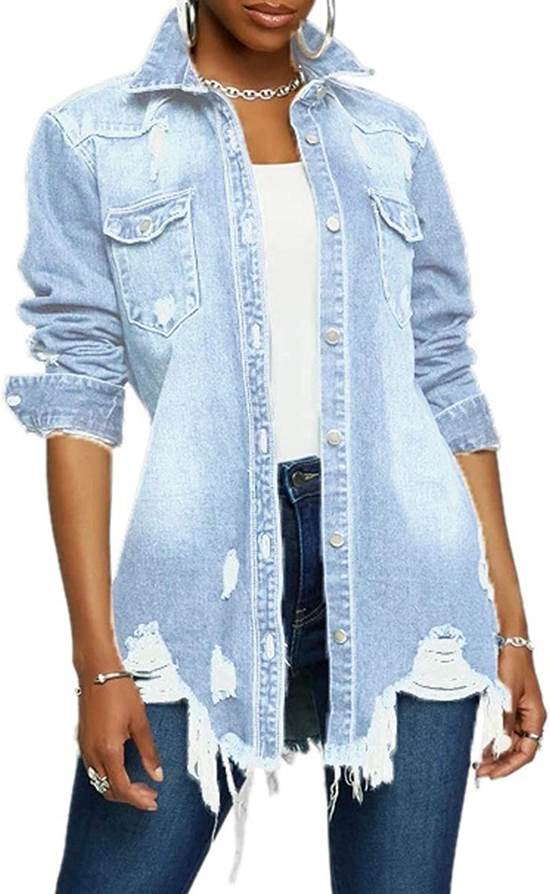 Women's Casual Denim Jacket Long Ripped Sleeve Louisville-Jefferson County Mall OFFicial site Hole Classic Coat