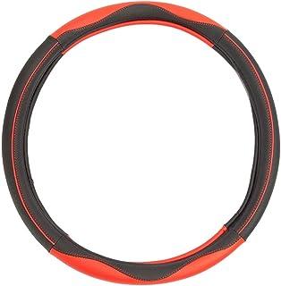 Leather Splicing Steering Wheel Sleeve Black-Red