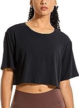 CRZ YOGA Women's Pima Cotton Workout Crop Tops Short Sleeve Yoga Shirts Casual Athletic Running T-Shirts