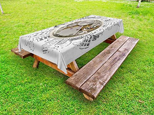 ABAKUHAUS Klok Tafelkleed voor Buitengebruik, Wekker met Wolken, Decoratief Wasbaar Tafelkleed voor Picknicktafel, 58 x 120 cm, Licht grijs