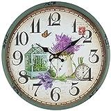 Perla PD Design - Reloj de pared de metal lacado con esfera de cristal y diseño vintage Diámetro de 30cm., metal, Jardín de primavera.