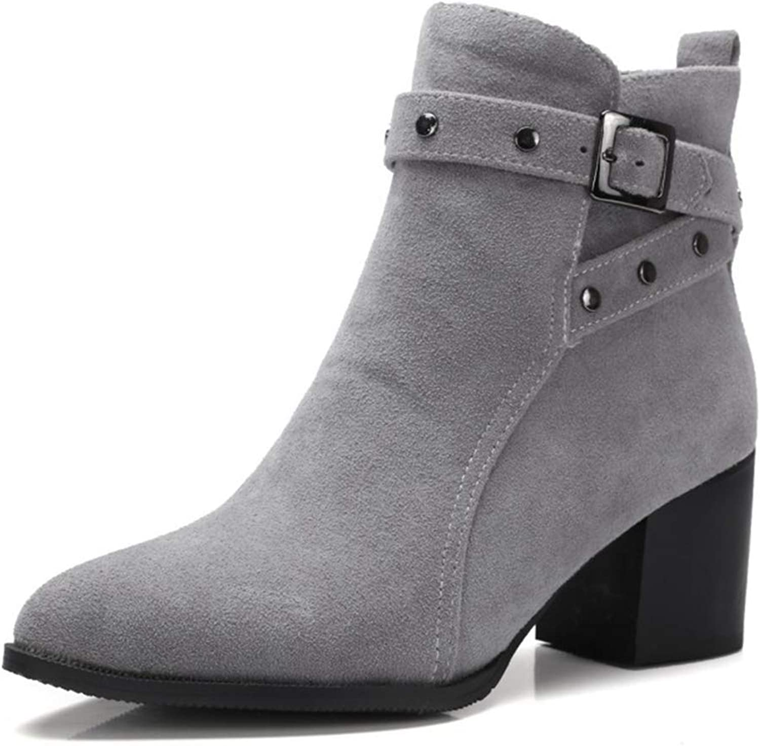 Women's Pull On Ankle Boots Round Toe Low Heels Winter Chunky Heel Riding Bootie Slip On shoes