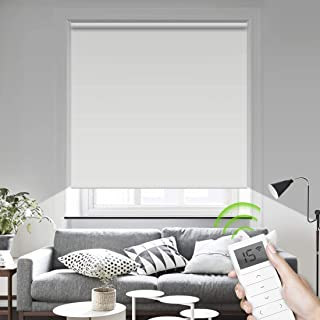 Motorized Smart Blinds Remote Control Window Roller Shade Wireless Rechargeable -100% Blackout Window Shades for Office Restaurant Customized Size (White)