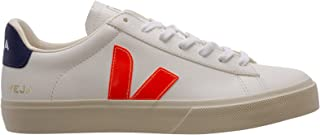 Veja Baskets Campo Chromefree en Cuir Blanc avec Logo Orange, Taille UK: