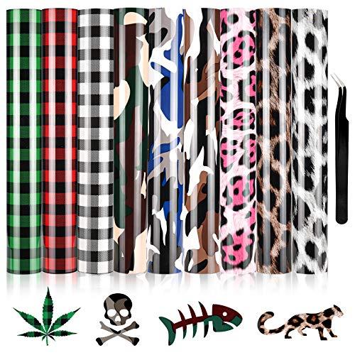 RUIYIQI - Lote de 9 parches de vinilo para transferencia de calor HTV (30,5 x 25 cm, vinilo impreso de prensa de calor para camisetas, ropa de bricolaje, decoración (camuflaje, cuadrado, leopardo)